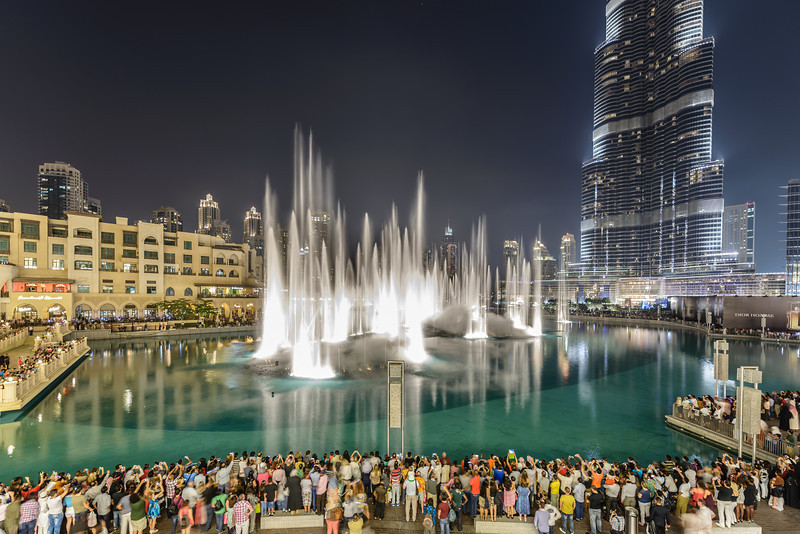 The Dubai Fountain rises in a choreographed sequence of water, light, and music.